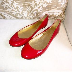 J. Crew Salina patent leather red flats size 6